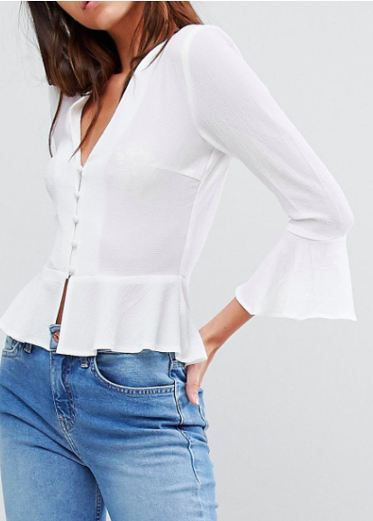 Missguided Button Detail Peplum Blouse