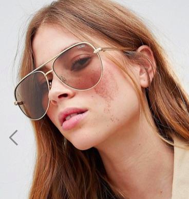 Quay Australia X Desi Sahara Aviator Sunglasses In Matte Gold