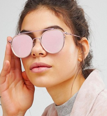 ASOS High Bar Round Sunglasses In Pink With Rose Gold Flash Lens