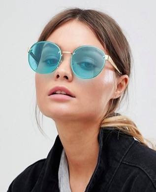 ASOS 9ct Gold Round Fashion Sunglasses With Turquoise Laid On lens