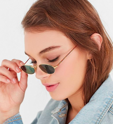 UO Vintage '90s Scene Slim Oval Sunglasses