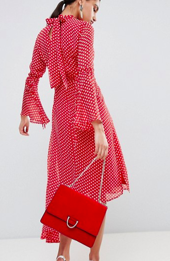 Boohoo High Neck Polka Dot Asymmetric Hem Dress