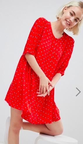 Monki Button Through Polka Dot Smock Dress