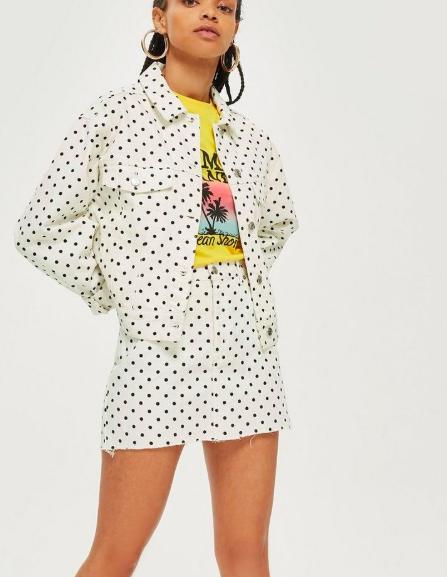 Topshop Polka Dot Crop Denim Jacket and High Waited Skirt