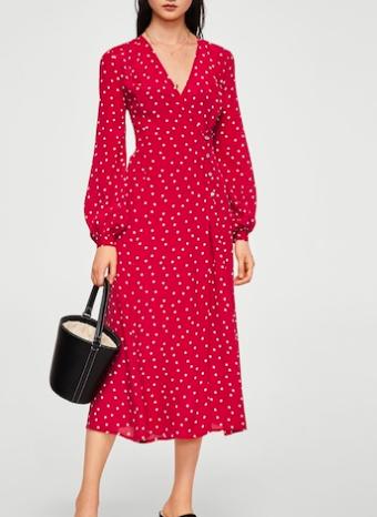 Mango Wrap polka-dot dress