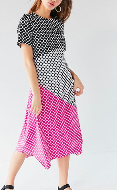 Ghospell Polka Dot Midi Dress