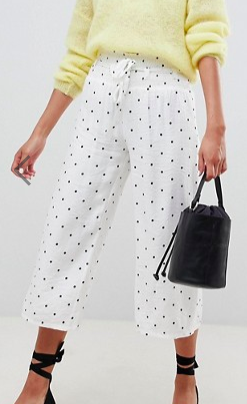 Lost Ink Wide Leg Pants With Corset Waist In Polka Dot