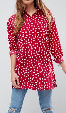ASOS DESIGN Longline Shirt in Polka Dot