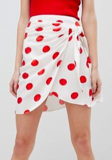 ASOS DESIGN wrap mini skirt in oversized polka dot print