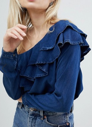 Only Denim One Shoulder Ruffle Top