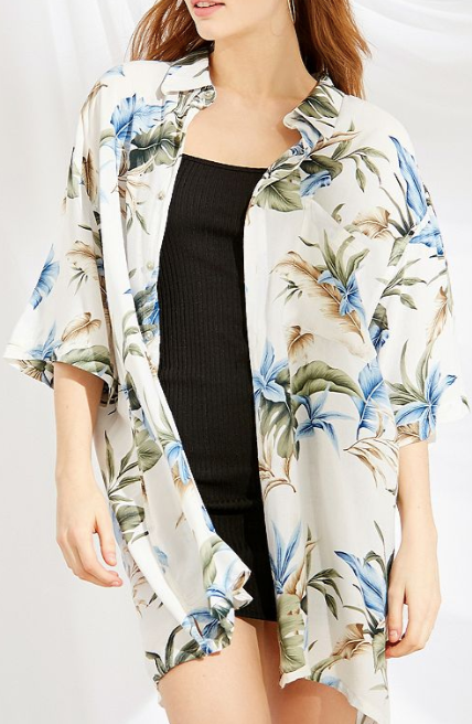 UO Vintage Oversized Tropical Print Shirt