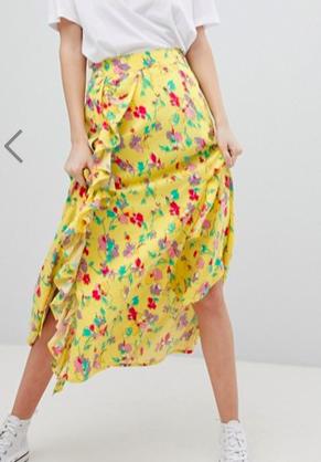 ASOS DESIGN midi tea skirt in yellow floral print
