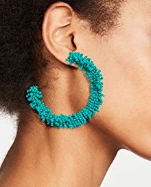 BaubleBar Large Beaded Hoop Earrings