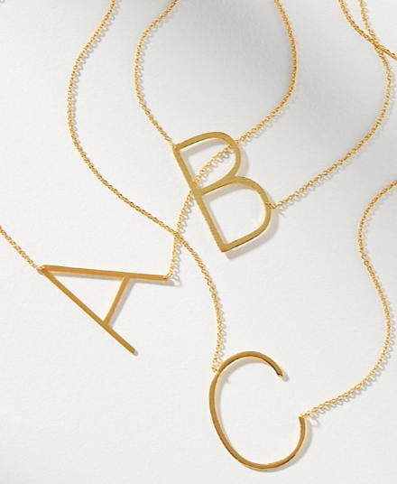 Anthropologie Initial Pendant Necklace
