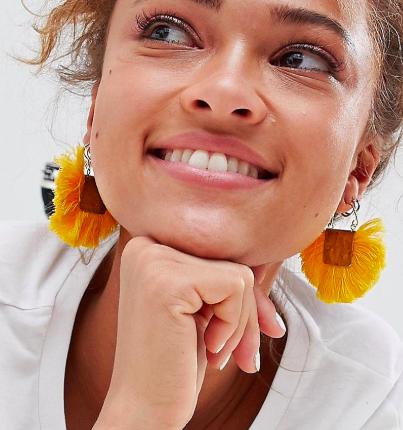 ASOS DESIGN Hammered Fan Tassel Earrings
