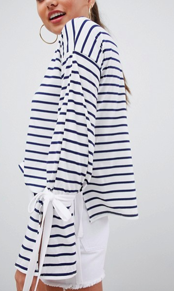 Missguided Tie Detail Stripe Top