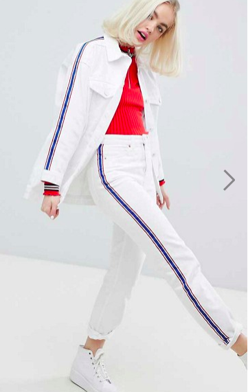 Monki Side Stripe White Denim Jacket & Jeans Two-Piece
