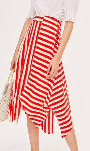 Topshop PETITE Striped Hanky Hem Skirt