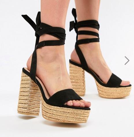 PrettyLittleThing Ankle Tie Espadrille Heeled Sandals
