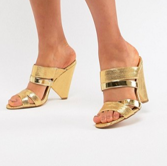 River Island mules with cone heel in gold