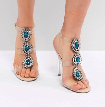 Blue By Betsy Johnson Sylvi Clear Embellished Heeled Wedding Sandals