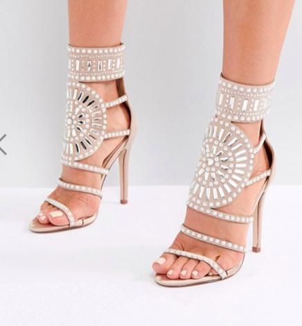 Public Desire Cleopatra Embellished Heeled Sandals in Rose Gold Satin