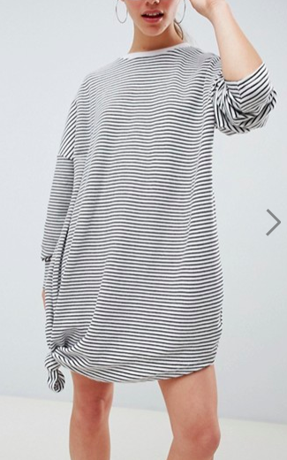 Missguided Petite Oversized Stripe Knot Detail T-Shirt Dress