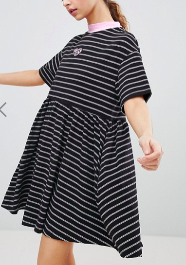 Lazy Oaf Oversized Smock Dress In Stripe