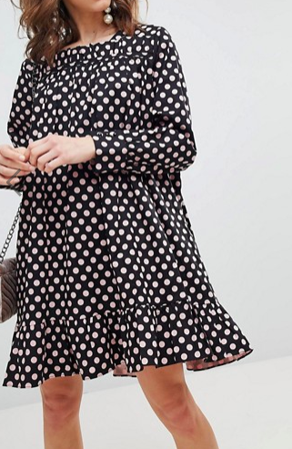 Sister Jane Long Sleeve Smock Dress With Peplum Hem In Oversized Polka Dot