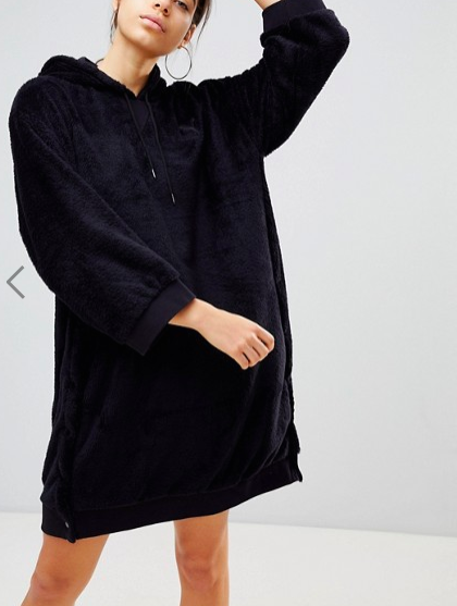 Puma Sherpa Oversized Hoody In Black