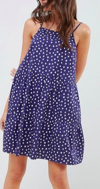 ASOS DESIGN cotton tiered mini sundress in spot