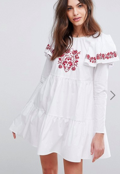 Fashion Union Embroidered Smock Dress With Exaggerated Sleeves