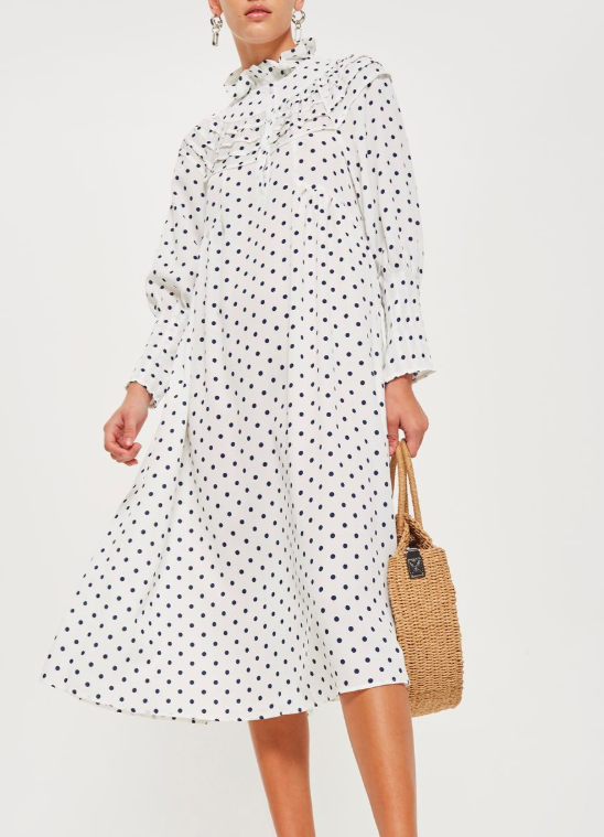 Topshop Polka Dot Frill Midi Dress