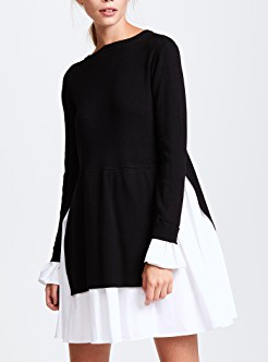 ENGLISH FACTORY Knit Combo Dress