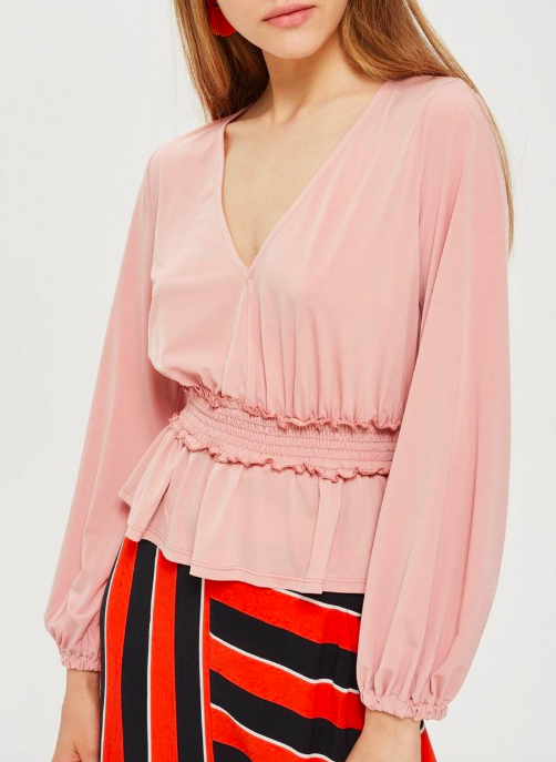 Topshop Shirred Waist Blouson Top