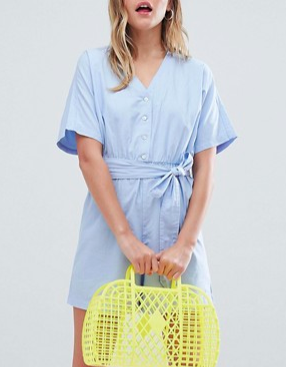 Monki Chambray Romper In Light Blue