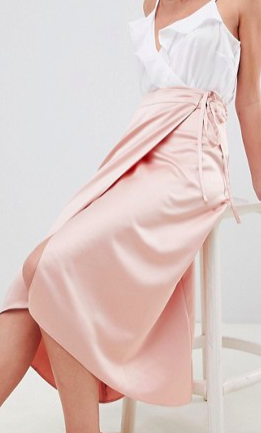 ASOS DESIGN satin wrap midi skirt