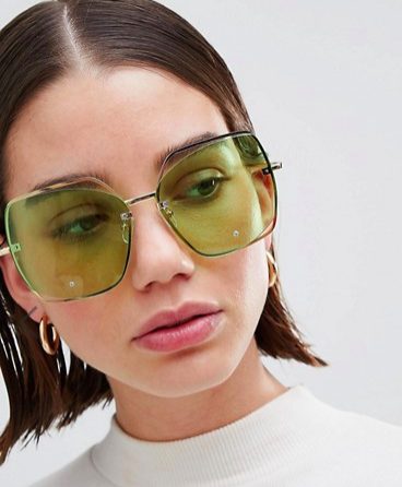 ASOS DESIGN Oversized Metal Square Sunglasses With Cut Away Detai