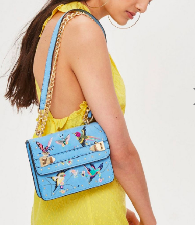Topshop Bird Embroidered Cross Body Bag