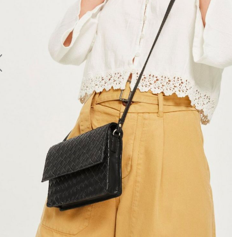 Topshop Leather Braided Cross Body Bag
