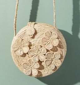 ANTHROPOLOGIE Mariposa Straw Crossbody Bag