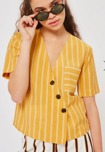 Topshop Striped Linen Shirt