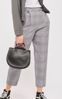 Topshop Linen Checked Trousers