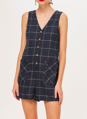 Topshop Windowpane Check Romper