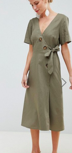 ASOS DESIGN wrap midi dress with button detail in linen