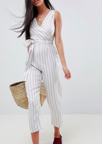 ASOS DESIGN cami jumpsuit with tie waist in linen stripe