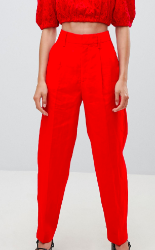 Mango linen tapered tailored PANTS in red