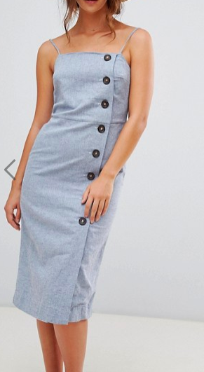Warehouse Linen Column Button Dress