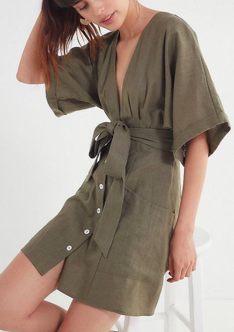 Blaque Label Linen Belted Kimono Dress