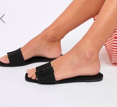 Bershka buckle flat sandal in black